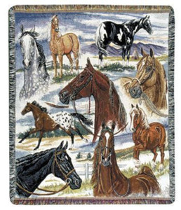 Horse Sense Throw Blanket by Simply Home (50x60 Inches)