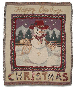 A Happy Cowboy Christmas Throw Blanket by Simply Home (50x60 Inches)