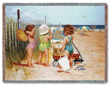 Beach Babies Throw Blanket by Pure Country Weavers (54x70 Inches)