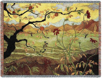 Apple Tree w/ Red Fruit Throw Blanket by Pure Country Weavers (53x70 Inches)