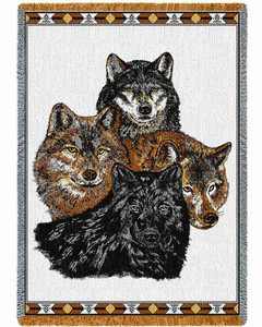 Wolves Throw Blanket by Pure Country Weavers