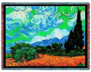 Wheat Field With Cypresses Throw Blanket by Pure Country Weavers (53x70 Inches)