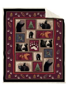 Bear Tracks Silk Touch Sherpa Throw Blanket by Ramatex (50x60 Inches)
