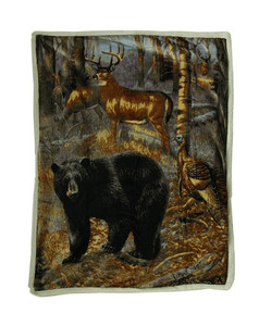 Hunter's Trophies Silk Touch Sherpa Throw Blanket by Ramatex (50x60 Inches)