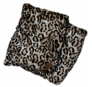 Snow Leopard Ultra Faux Fur Blanket With Black Fleece Backing