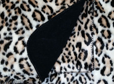 Snow Leopard Ultra Faux Fur Blanket With Black Fleece Backing close