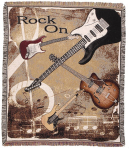 Rock On Guitars Throw Blanket by Simply Home (50x60 Inches)