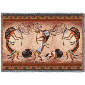 Kokopelli Pot Dance Throw Blanket by Pure Country (70x54 Inches)