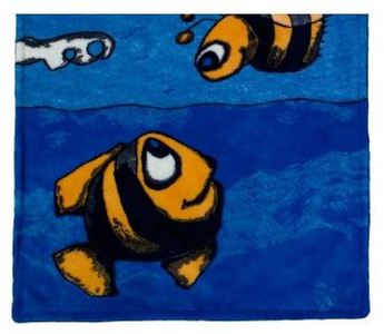 Fish & Bee/Royal Blue #476 Baby Blanket by Denali (30x36 Inches)