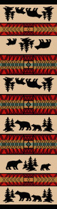 "Bear Adventure/Red 2x8 Runner by American Dakota (2'1"" x 7'8"")"