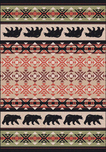 "Cozy Bears/Burnt Red 4x5 Rug by American Dakota (3'10 x 5'4"")"