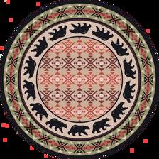 "Cozy Bears/Burnt Red Round Rug by American Dakota (Approx. 7'7"")"