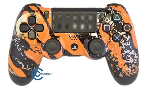 Orange Splatter PS4 Controller | Ps4
