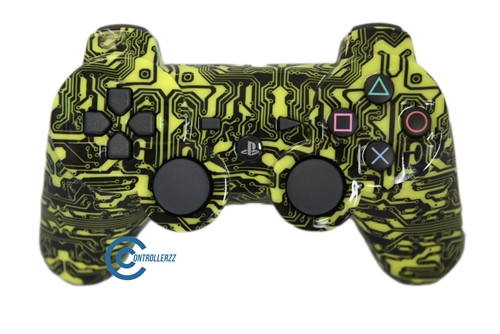 Yellow Circuit Board PS3 Controller | Ps3
