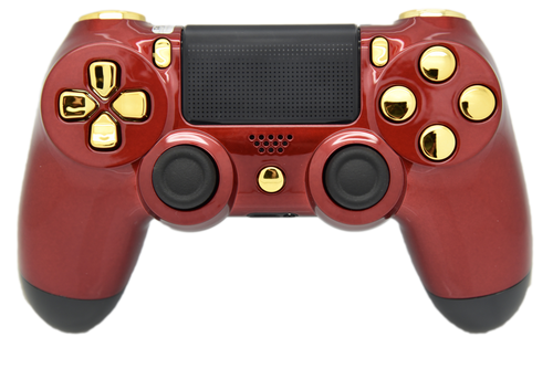 Red & Gold Glossy PS4 Controller | PS4