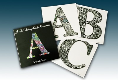 Pam Corwin's whimsical alphabet adult coloring book sold with 24 peronalized coloring pencils | ExplicitlyYoursPencils.com