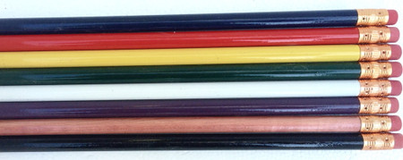 Solid colored round pencils, depending on the pencil color, can use colored or white print. Solid colors include: black, white, navy, dark green, purple, yellow, red and natural.  These are #2 lead, wood cased, painted pencils.