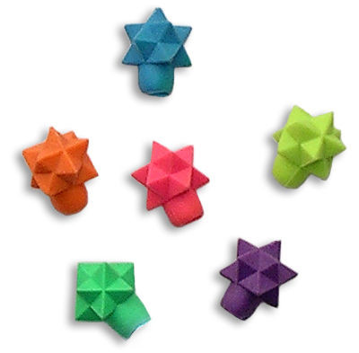 For the star in your life, this is a set of six, assorted colored star eraser toppers.