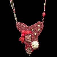 """""""Red Medium"""" Necklace; one-of-a-kind, original design, hand-beaded necklace in artist's private collection"""