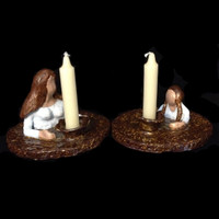 Mother and daughter lighting the Shabbat/Yom Tov candles; two pieces, handmade clay and glazed