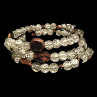 Crackle crystal and copper color memory wire bridal bracelet, fits all sizes