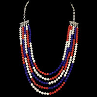 5-Strand Patriotic Red-White-and-Blue Crystal Necklace