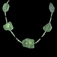Handmade sea glass necklace with Swarovski crystals and freshwater pearls