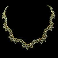 Handmade jewellery dark bronze crystal scalloped necklace