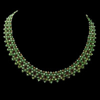 Handmade beaded jewellery with green and copper crystals