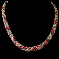 Handmade jewellery red and gold spiral necklace