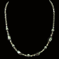 Handbeaded jewellery hematite twisted and round beads with crystals necklace