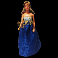 Handmade Hanukah long dress fashion for fashion doll with menorah