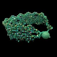 Handmade jewellery teal crystal bracelet with Swarovski pearl closure
