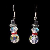 Handmade Swarovski crystal snowman Christmas/winter earrings