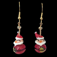 Handmade Glass Santa Earrings for Christmas