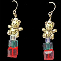 Teddy Bears with Swarovski crystal gift boxes handmade earrings