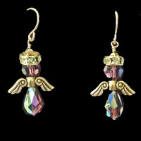 Purple Swarovski Crystal Angel Earrings, Handmade