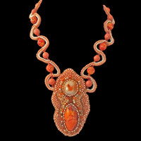 Bead Embroidery necklace in corals with Swarovski pearls, gemstones, and seed beads; Design by Batya exclusively for Lisa Todd boutique in Boca Raton, FL