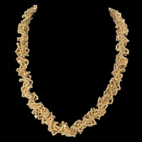 Hand beaded gold netted spiral necklace with Swarovski crystals