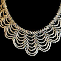 Handmade, lightweight bridal necklace in white and crystal seed beads