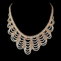 White and gold, lightweight bridal necklace