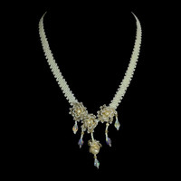 Floral bridal necklace with Swarovski pearls and crystals