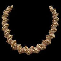 Camo necklace with graceful spiral weave