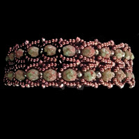 Camo bracelet with Apollo Czech beads, crystals, copper seed beads and findings