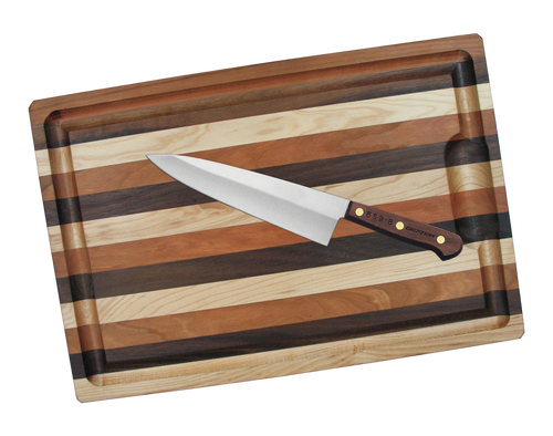 "Dexter Russell Beginner Chef Set Traditional 10"" Cook's Knife Walnut Handle 12251 659-10 w/ Mixed Hardwood Cutting Board"