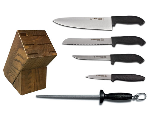 Dexter Russell Cutlery SofGrip Essential Knife Block Set - Black Handles VB4049