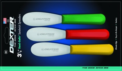 "Dexter Russell Sani-Safe 3 1/2"" 3-Pack Spreaders Red, Yellow, Green 18503 S173-3RYG"