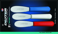 """Dexter Russell Sani-Safe 3 1/2"""" 3-Pack Scalloped Spreaders Red, White, Blue 18343 S173SC-3RWC"""
