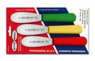 "Dexter Russell Sani-Safe 3 1/2"" 3-Pack Scalloped Spreaders Red, Yellow, Green 18543 S173SC-3RYG"