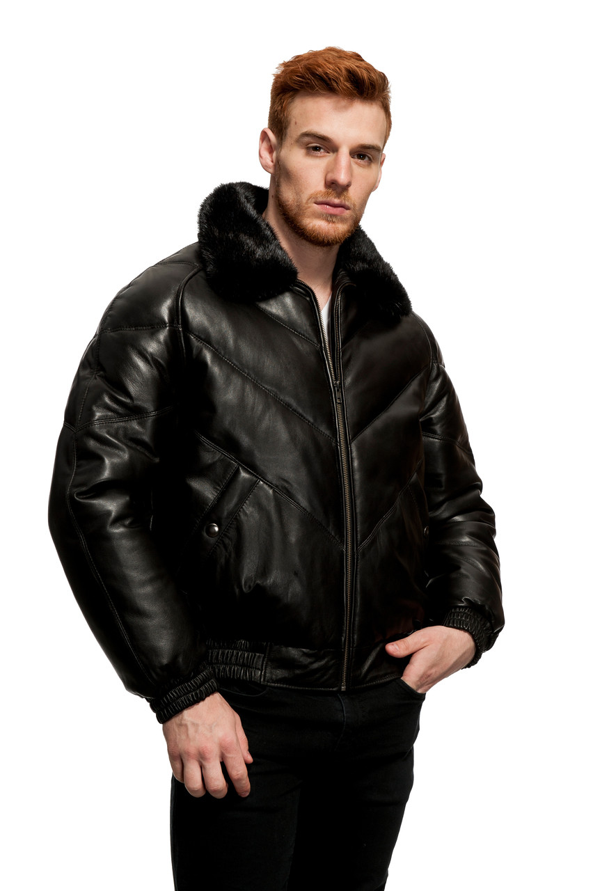 Original Goose | James Leather/Down Filled V-Bomber - Wilda Leather